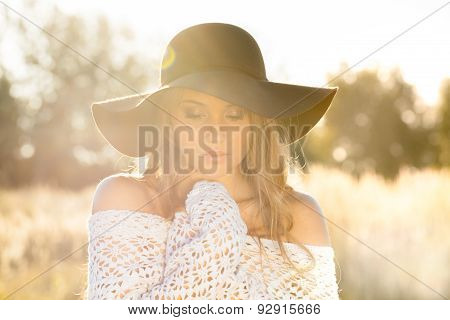 Young Lady Model In Field - Sunrise Shot