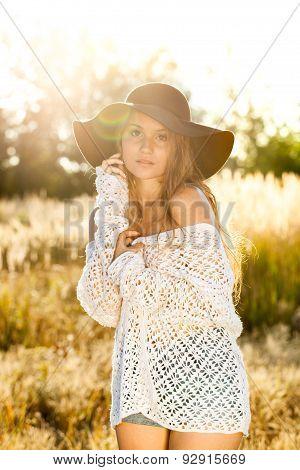 Beautiful Young Lady Model In Field - Sunrise Shot