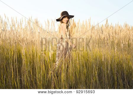Beautiful Young Model In Tallgrass Meadow