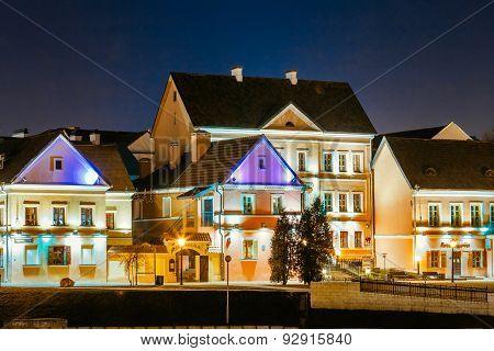 Night Scene Trinity Hill In Minsk, Downtown Nemiga, Nyamiha, Belarus