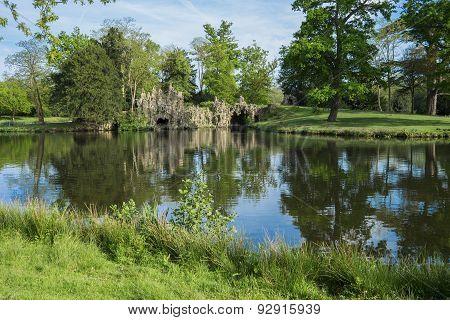 Bright lake and grotto May