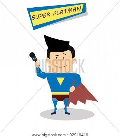 Illustration super journalist in flat design isolated on white background. Vector Superhero