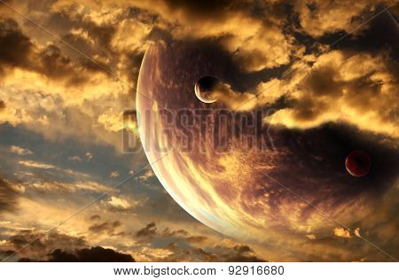 Sunset in alien planet. Elements of this image furnished by NASA