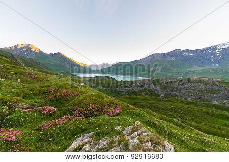 Alpine Landscape At Sunrise At High Altitude