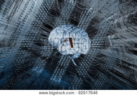 artificial intelligence, human brain and microchip, electrodes and future communication