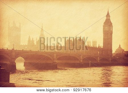 Buildings of Parliament with Big Ban tower in London, UK. Photo in retro style. Added paper texture. Toned image