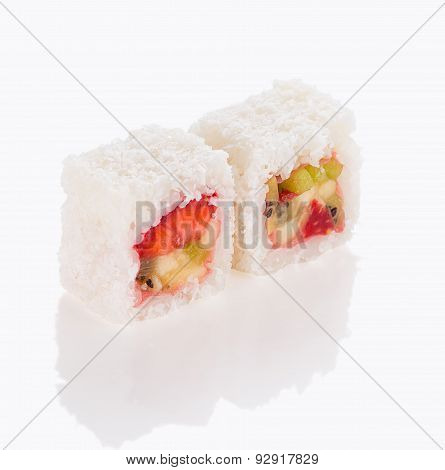Sweet Sushi Roll Isolated On White Background