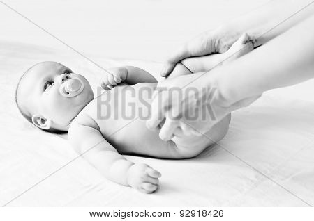 Massaging Of Little Baby