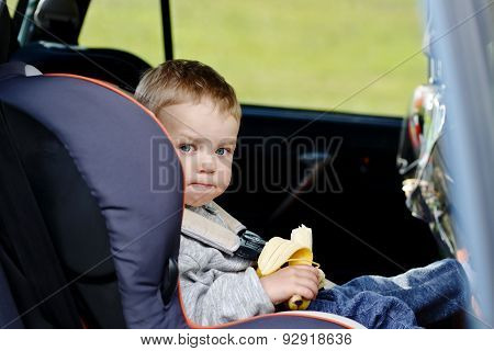 Toddler Boy In The Car Seat