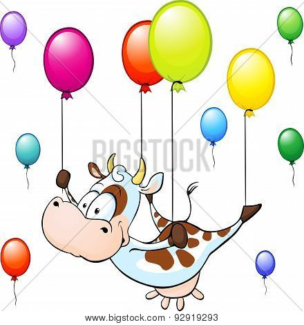 Funny Cow Flying With Colorful Balloon Isolated On White Background