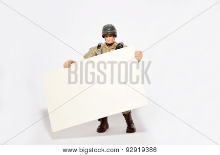 Soldier Holds A Namecard