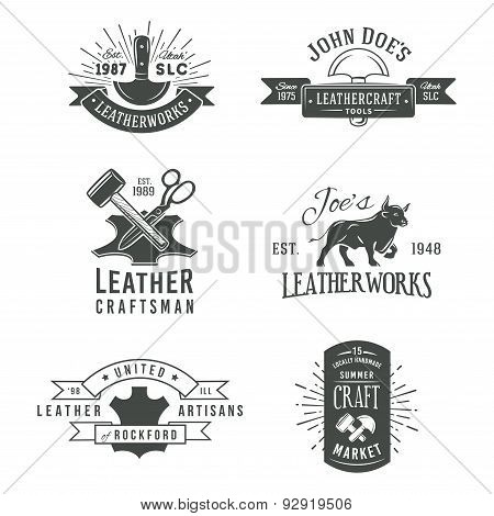 First set of grey vector vintage craft logo designs, retro genuine leather tool labels. artisans mar