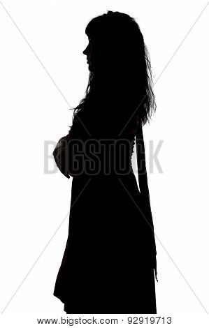 Photo of curvy woman's silhouette in profile