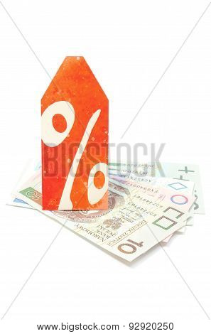 Discount Label Lying On Banknotes. White Background
