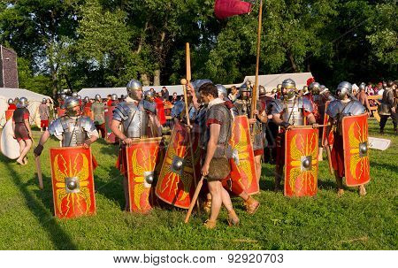 Roman legionnaires after the match with the barbarians