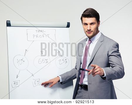Handsome businessman making presentation on flipchart over gray background. Looking at camera