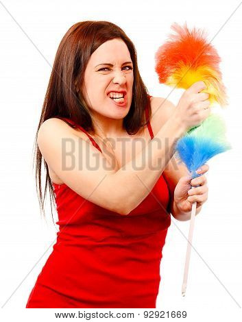 Angry Woman In Red Shirt With Whisk For House Dust