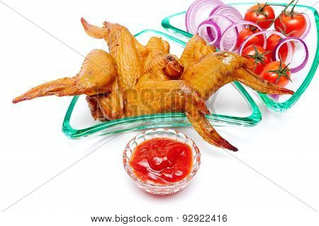 Smoked Wings, Ketchup And Vegetables On A White Background
