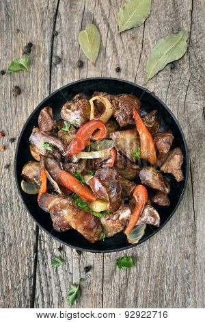 Grilled Chicken Liver With Pepper