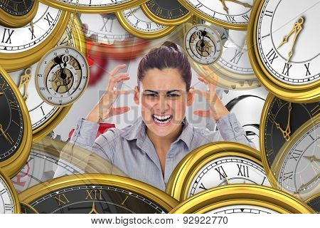 Frustrated businesswoman shouting against white background with vignette