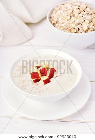 Oat Porridge With Red Apple Slices