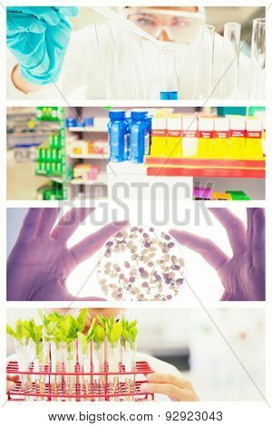 Close up of shelves of drugs against close up of a protected scientist dropping liquid in a test tube