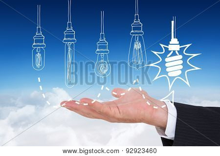 Businessman with wrist watch and hands out against blue sky over clouds
