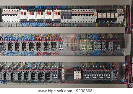 Electrical panel at a assembly line factory