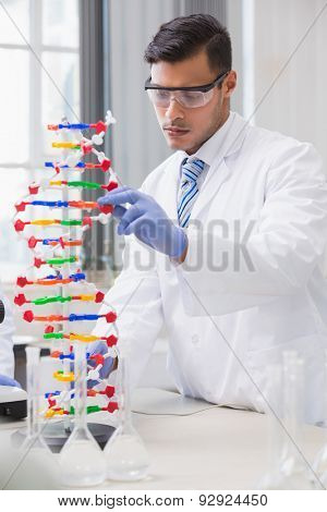 Scientist analysing dna helix in the laboratory