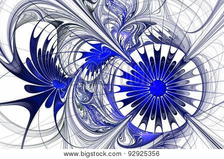 Flower Background. Blue And White Palette. Fractal Design. Computer Generated Graphics.