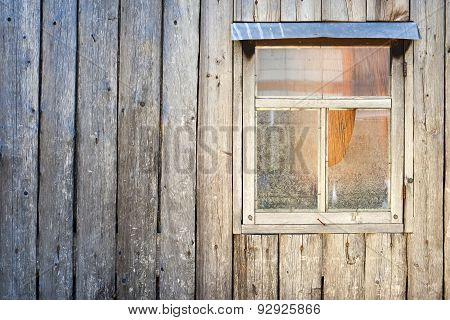 Wooden Background. Wall Of A Barn With A Window