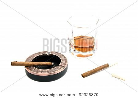 Two Cigarillos, Ashtray And Whiskey