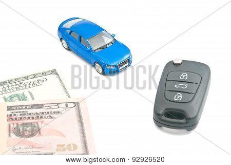 Blue Car, Black Car Keys And Dollar Banknotes