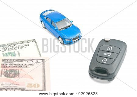 Blue Car, Black Car Keys And Dollar Notes