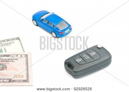 Blue Car, Car Keys And Dollar Notes