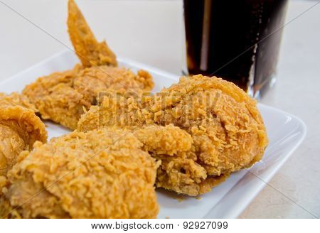 Crispy Fried Chicken With Glass Of Cola