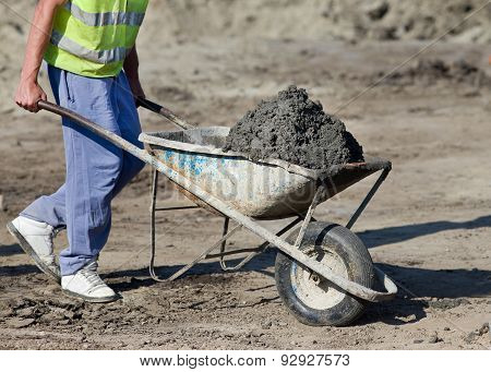 Construction Barrow With Concrete