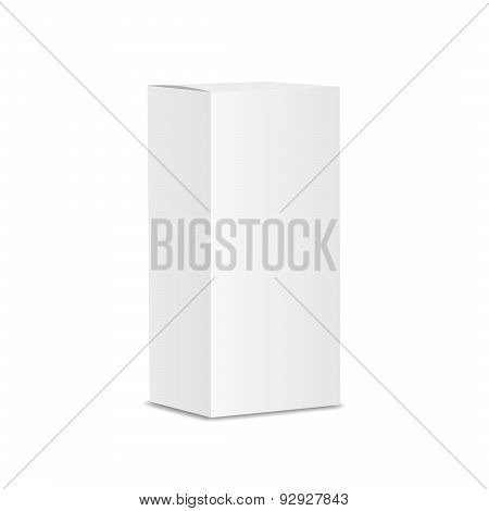 Blank vertical paper or cardboard box template standing on white background Isolated.  illustration.
