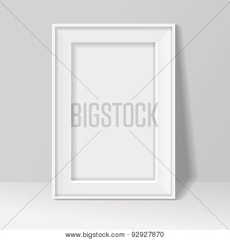 blank frame on white wall  background.  illustration .