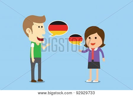 Women and man speaking German