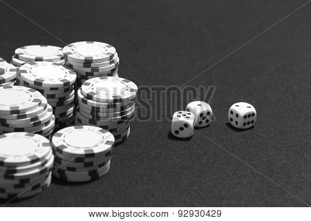 Crabs And Betting Chips In A Table Game