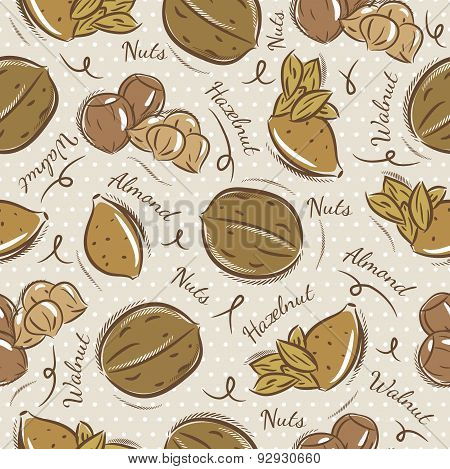 Background With Almond, Hazelnut And, Walnut