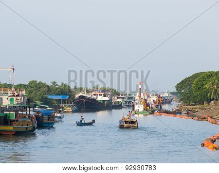 The Harbour In Sittwe, Myanmar