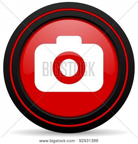 photo camera red glossy web icon