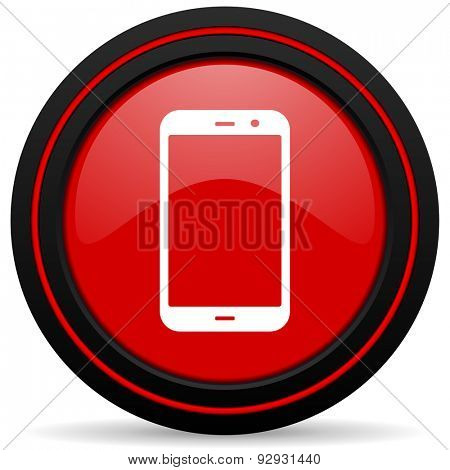 smartphone red glossy web icon
