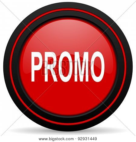 promo red glossy web icon