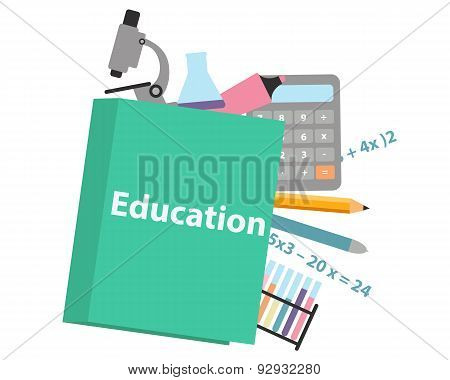Concept education. School textbook mathematics and chemistries. Vector illustration