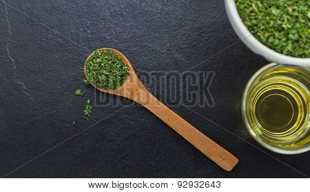 Parsley Spices And Herbs In Metal Bowls. Food And Cuisine Ingredients. Colorful Natural Additives.