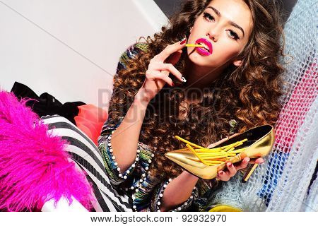 Impassioned Inimitable Woman Eating Sticks