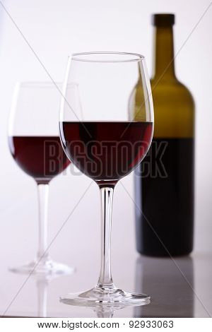 Bottle And Glasses Of Red Wine
